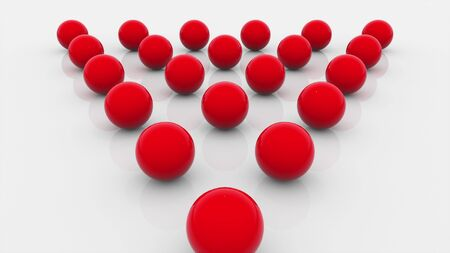 Composition of fifteen red balls lined with a triangle on a flat surface, computer generated. 3d rendering isometric background