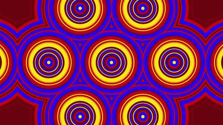 Retro kaleidoscope of colorful rounds forming hypnotic ornament. 3d rendering computer generated technological background