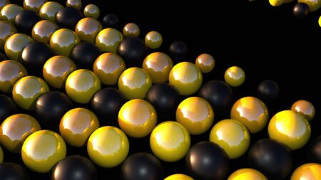Computer generated smooth black and gold spheres. 3d rendering of geometric background