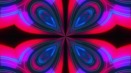 Kaleidoscope of luminous ring glass stripes forming beautiful hearts. 3D rendering computer technology backdrop 免版税图像
