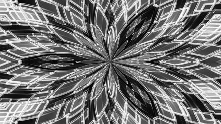 Abstract kaleidoscope of luminous the crystals and petals forming beautiful flower. 3d rendering computer generated technological background