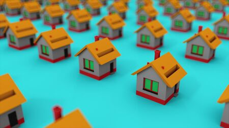 Many rows of colorful houses. House property market for rent and home buyers, computer generated. 3d rendering isometric background