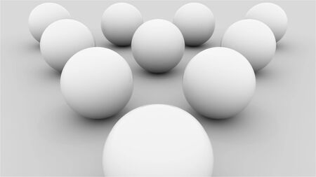 Composition of ten white balls lined with a triangle on a flat surface, computer generated. 3d rendering isometric background