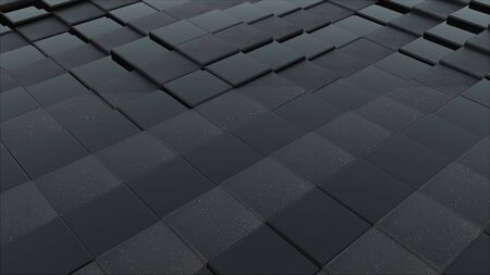 3d rendering of black cubes boundless surface. Computer generated abstract wavy background. Imagens