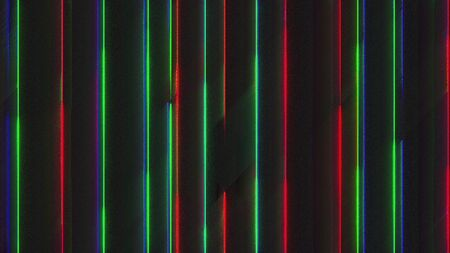 Computer generated chromatic aberration bands. Pixel multi-colored neon noise. 3d rendering abstract background