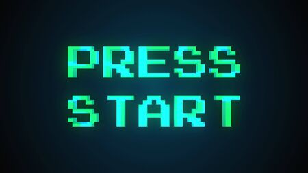 Computer generated a text message screen: Press start. 3d rendering 8-bit font, black background for computer game