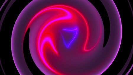 Computer generated background with abstract spiral. 3D rendering circular merger of neon color lines.