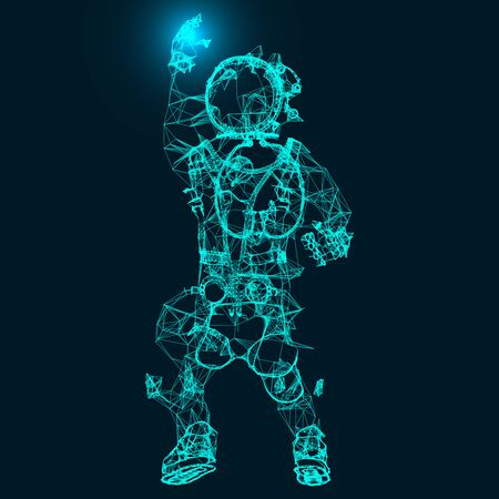 Abstract illustration of an astronaut. Connection linear shapes with many dots. Vector space wireframe concept.