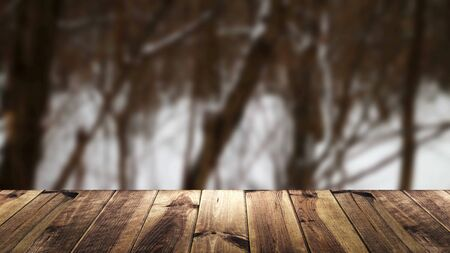 Perspective wood and blur background. Snow composition Zdjęcie Seryjne