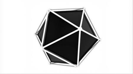 Platonic inside a lattice, 3d rendering geometric shape. Computer generated icosahedron. Technological backdrop