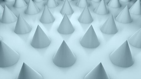 Surface with numerous repeating cones, isometric background, modern computer generated 3d rendering backdrop