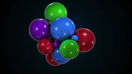 Bunch of colorful chaotic spheres. Computer generated abstract form of large and small balls. 3d rendering modern background