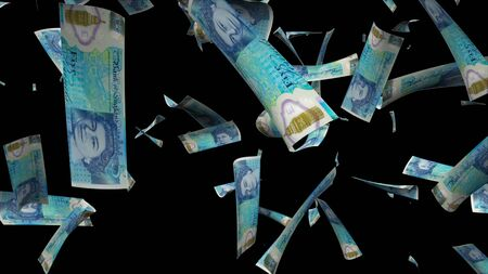 Many pound sterling bills fall from above, 3d rendering. Computer generated backdrop with effect of money rain. Business success Stock Photo