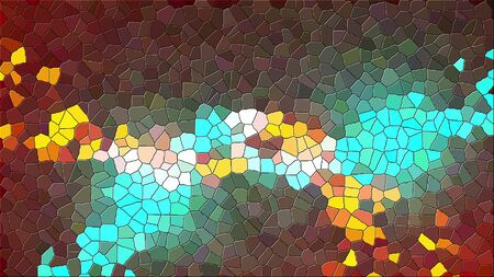 Antique multicolor mosaic of various shapes. Computer generated abstract background, 3d rendering