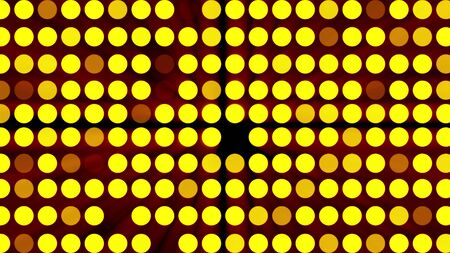 Computer generated bright flood lights background with gold glow round particles. 3d rendering of disco screen