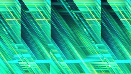 Computer generated inclined and horizontal glass stripes with many narrow neon light lines in different colors. Abstract mirror background. 3d rendering