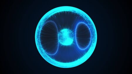 Magic neon orb computer generated background. 3d rendering energy inside the sphere