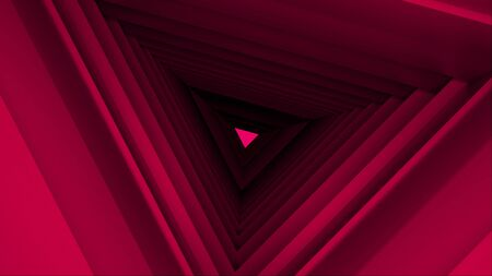 Computer generated triangle tunnel. Space of the future. Inside a rotating triangular corridor. 3d rendering abstract background.
