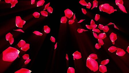 Rose petals falling from top to bottom in rays, computer generated. Rain of rose petals. 3d rendering of romantic background