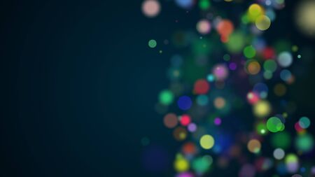 Beautiful multi-colored celebratory particles are in space, shallow depth of field, bokeh effect, computer generated abstract background, 3D render