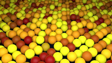 Many rows of abstract colorful spheres, isometric background, modern computer generated 3D render backdrop Archivio Fotografico