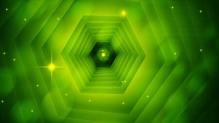 Bright abstract hexagon tunnel with sparkles, 3d render background, computer generated