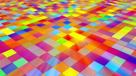 Disco floor with bright squares, 3d rendering abstraction, computer generated backdrop for nightlife creative