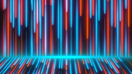 Bright colored neon beams are on wall and floor, modern neon technology, 3d rendering computer generated background