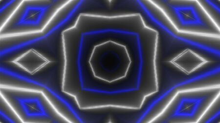 Beautiful abstract symmetry kaleidoscope with shiny neon lines, 3d rendering backdrop, computer generating background Archivio Fotografico