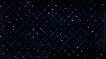 Computer generated abstract digital technology backdrop. 3D rendering a grid of connected flickering particles