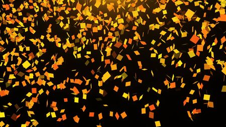 Gold falling confetti in space, many particles, celebratory 3d rendering background for holidays