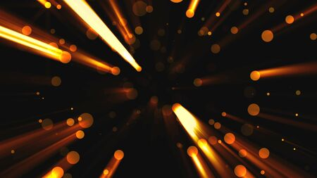 Abstract golden particles with flares are in space, modern background, 3d rendering backdrop