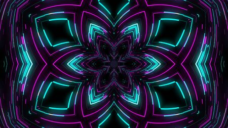 Abstract neon kaleidoscope background, 3d rendering computer generated background Banque d'images
