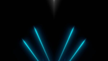 Bright neon beams in darkness, modern neon technology, floodlights, 3d computer generated background