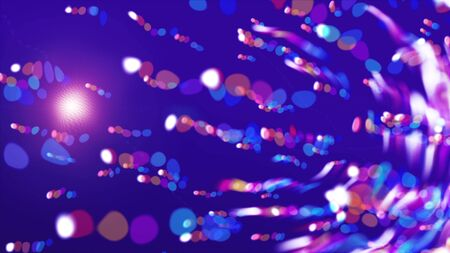 Bright dot abstraction of flying lights in the space, modern computer generated background, 3d rendering backdrop