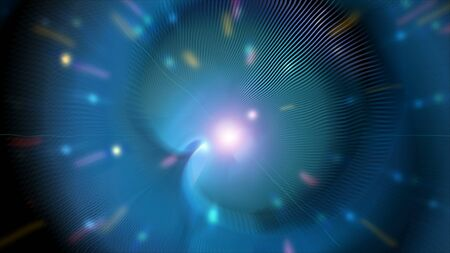 Light tunnel with shiny particles in space with blur effect, 3d rendering background, computer generated backdrop