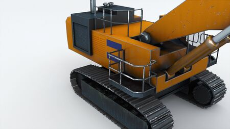 The appearance of powerful mining excavator, computer generated. 3d rendering of engineering equipment. Industrial background.