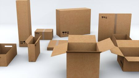 Cardboard packaging for sending various products, computer generated. The concept of safe transportation of goods. 3d rendering of technologycal background