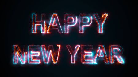 The title Happy New Year, computer generated. Burning inscription. Capital letters. 3d rendering congratulatory background