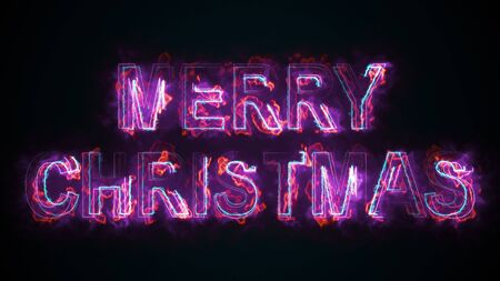 The phrase Merry Christmas, computer generated. Burning inscription. Capital letters. 3d rendering congratulatory background