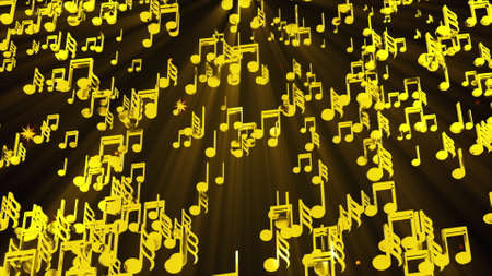 Rain of golden musical notes, computer generated. 3D rendering melodic backdrop Imagens