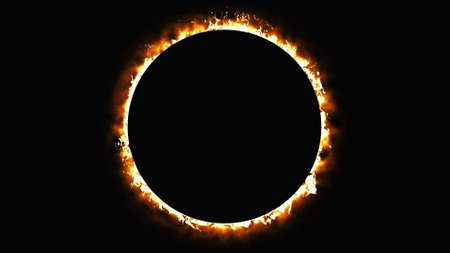 Solar eclipse, computer generated. Burning ring of fire, portal, gate.
