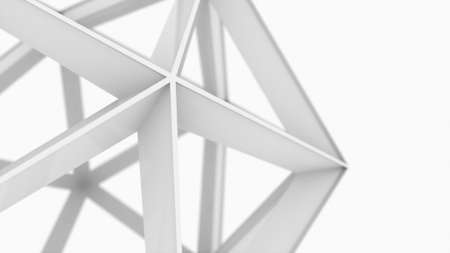 Proportional polyhedron from lattice structure, 3d rendering geometric shape. Computer generated the atom. Technologal background