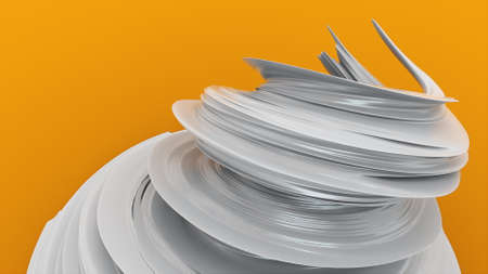 Growing vortex flow abstract, computer generated. 3d rendering modern composition, futuristic background 版權商用圖片