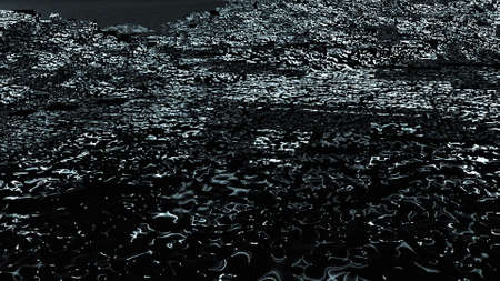 3d render of abstract surface with black noise. Computer generated ebb and flow effect on the shore. Noise backdrop.