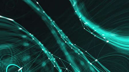 Abstract connection dots. Technology background. Network concept. 3d rendering Stock fotó - 155051332