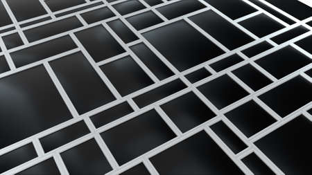Abstract geometric rectangular shapes and lines. Scalable adaptive blocks. Computer generated 3d rendering backdrop