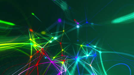 Abstract connection dots. Technology background. Network concept. 3d rendering Stock fotó - 155051334