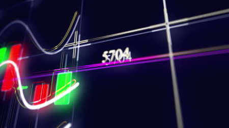 Rising bar graph of stock market investment trading. Computer generated business backdrop. 3d rendering of growing chart