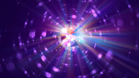 Colorful galaxy abstractipn with bright rays, 3d rendering background, computer generated backdrop Stock fotó